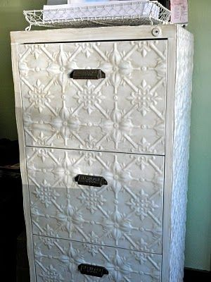 file cabinet covered with new tin and painted