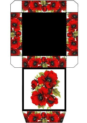 Cajita cuadrada con flores rojas.