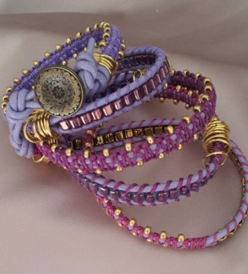 wrap bracelet da avvolgere per più giri sul polso bracciale laccio in cuoio,filo per macramè,cubetti nodi macramè