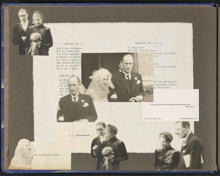 Bruidspaar, familieleden, genodigden, liedteksten en visitekaartjes, Eva Charlotte Pennink-Boelen, 1934