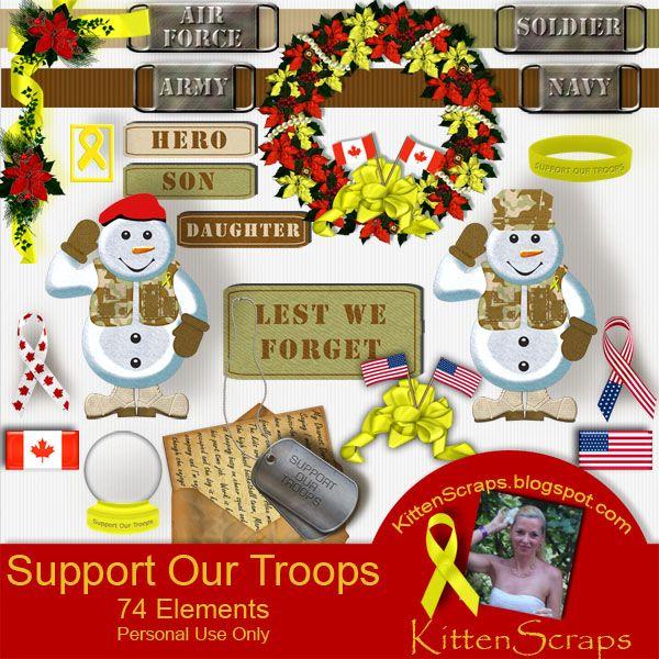 Support Our Troops Freebie - KittenScraps & Friends Forum, old blog freebie and retired kit by KittenScraps