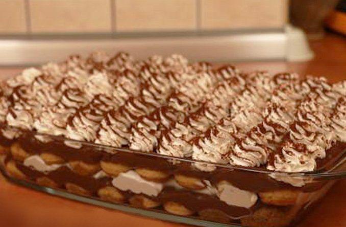 Čokoládová torta s piškótami na spôsob tiramisu - Receptik.sk