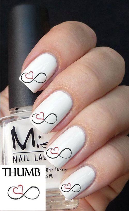 Infinity heart nails