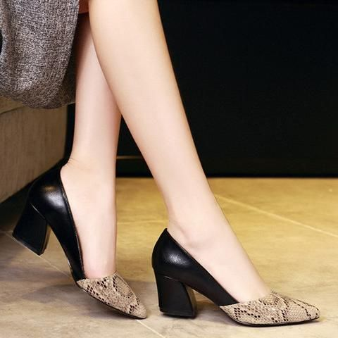 Snakeskin Pattern Women Pumps Sexy Pointed Toe Microfiber Leather High Heels