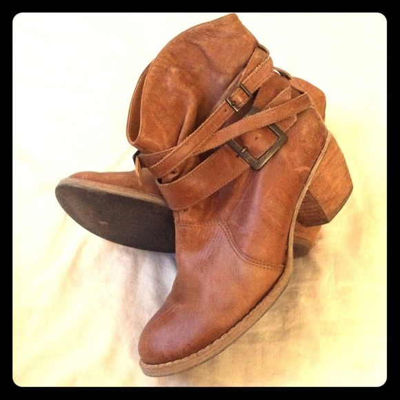 """MIA ankle boots Tan leather MIA slouch ankle boots with three adjustable strap buckle design. Stacked 2"""" heels and stitch design around the front. EUC MIA Shoes Ankle Boots & Booties"""