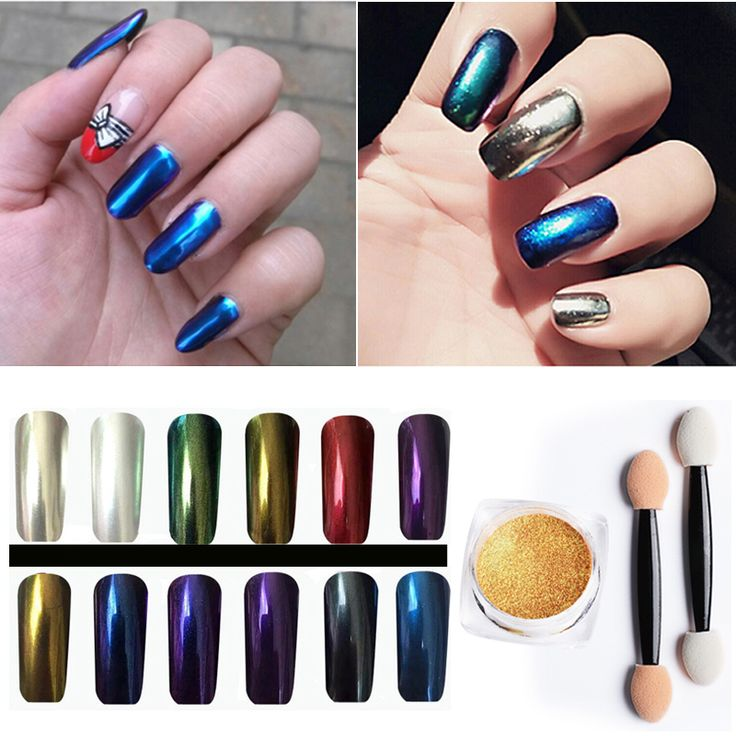 2016 Hot Professional DIY Nails Art Tool Kit Accessoires Fashion Glow Pigment Glitter Metallic Chrome Mirror Powder Nails Set