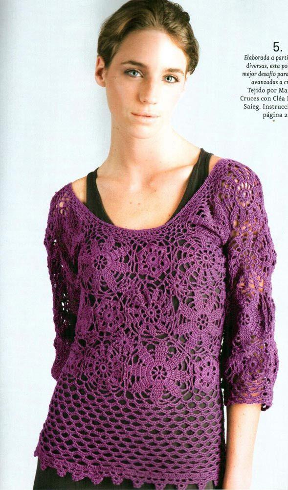 Bonito patrón crochet y explicación de jersey flores