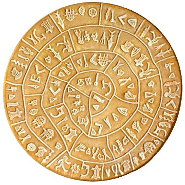 The Phaistos Disc (discovered in 1908) is a disk of fired clay from the Minoan palace of Phaistos on the island of Crete. It is about 6 in. in diameter and covered on both sides with a spiral of stamped symbols. Its purpose and meaning, and even its original geographical place of manufacture, remain fully unknown.