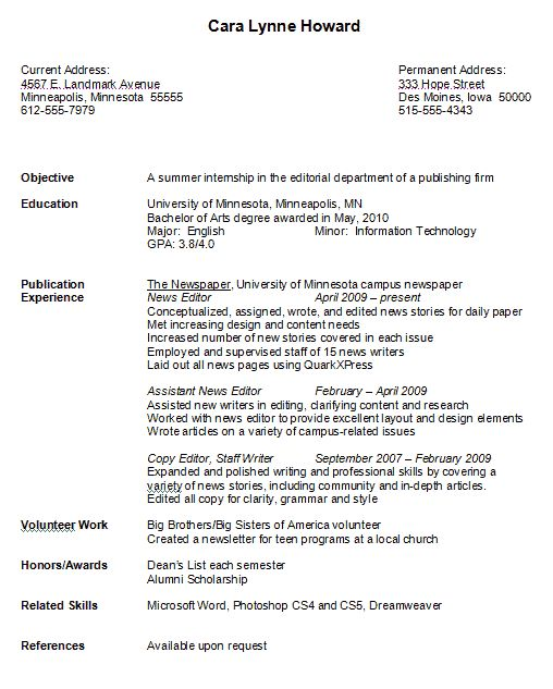 Resume Format For College