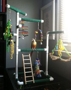 ♥ Pet Bird Stuff ♥ Green Medium Tabletop Cagetop PVC Bird Gym Play Stand with Ladder Perches