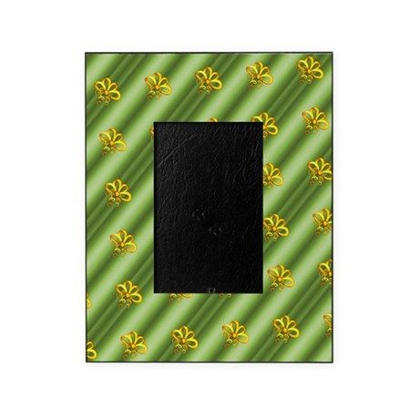 Gold Christmas Ribbons on Green Picture Frame on CafePress.com