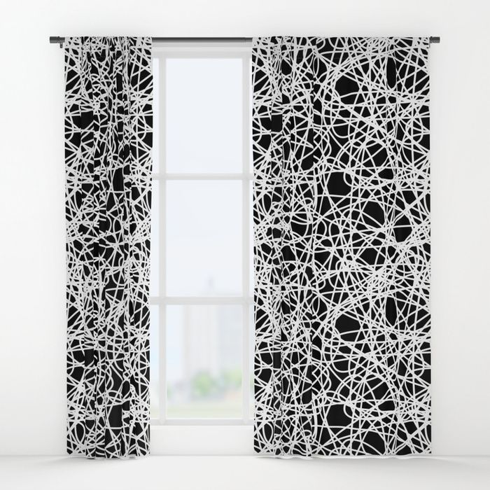 Window Curtains With Black And White Abstract Pattern With Lines By Alice Vacca Abstract Black White Lin Black And White Abstract Curtains Abstract Pattern