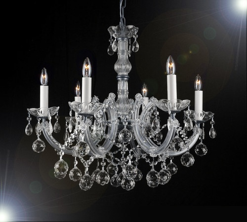 New Crystal Chandeliers Maria Theresa Collection 6 Lights Balls Silver