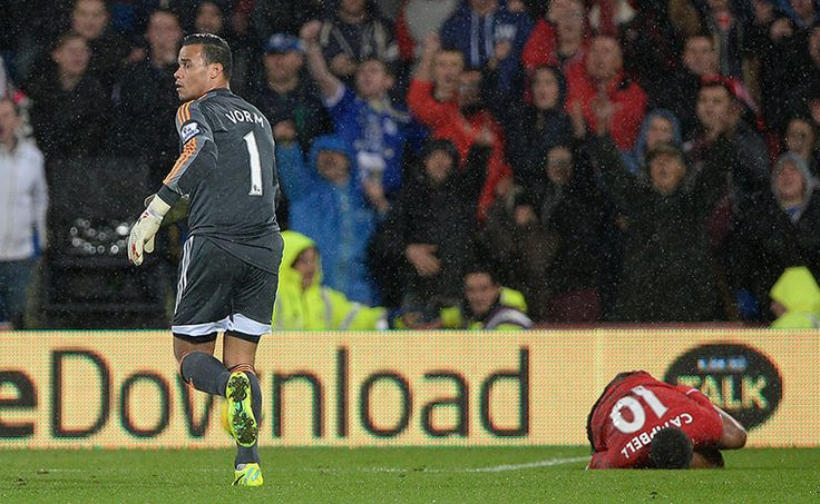 Swansea's goalkeeper Michel Vorm is sent off in the dying seconds for fouling Frazier Campbell, as Cardiff win 1-0