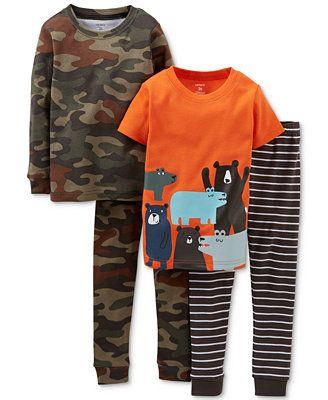 Carter's Baby Boys' 4-Piece Camo Bear Pajamas