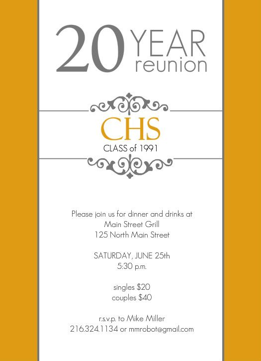 Classic Colors 20 Year Class Reunion Invitation By Purpletrail