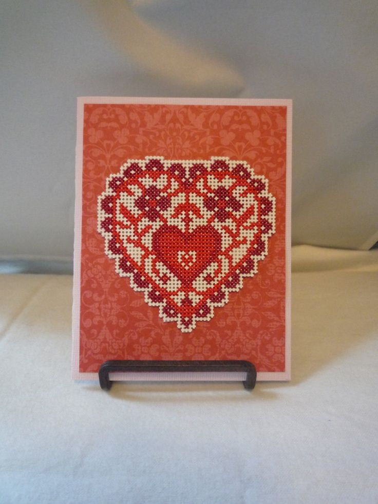 True To My Heart hand stitched card by HMCrafters on Etsy