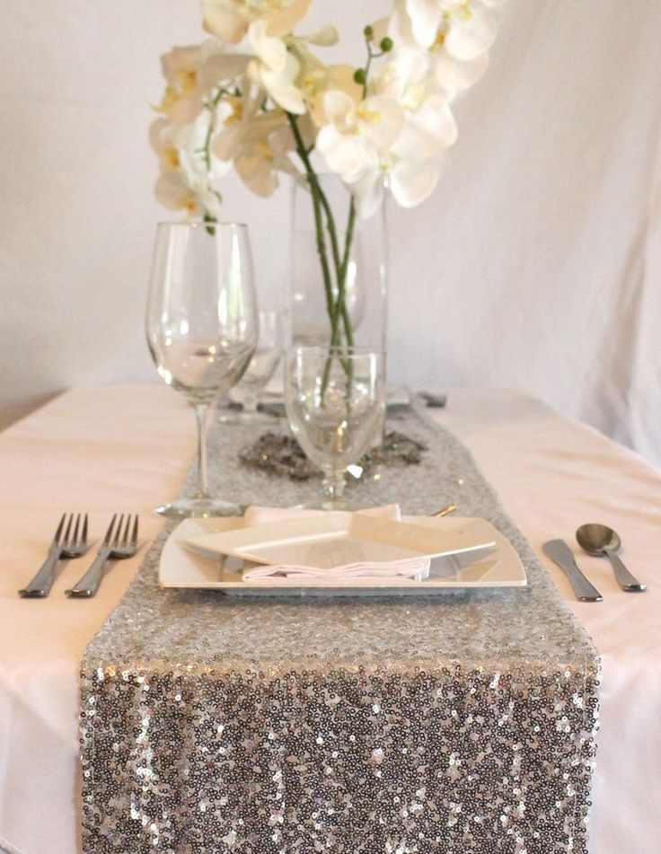 Silver Sequin Table Runner | White Orchids | Glitter Wedding | Afloral.com