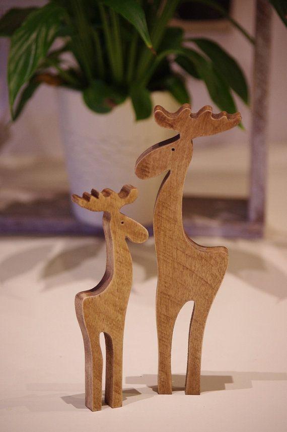 Wooden Reindeer, Christmas decoration reindeer, Pair of Wooden Deer