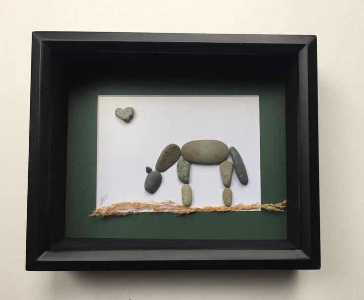 Paard minnaar cadeau paard Artwork Pebble Art paard paard minnaar cadeau aanwezig voor rijden Coach Country Home Decor paard stenen stokken en stenen