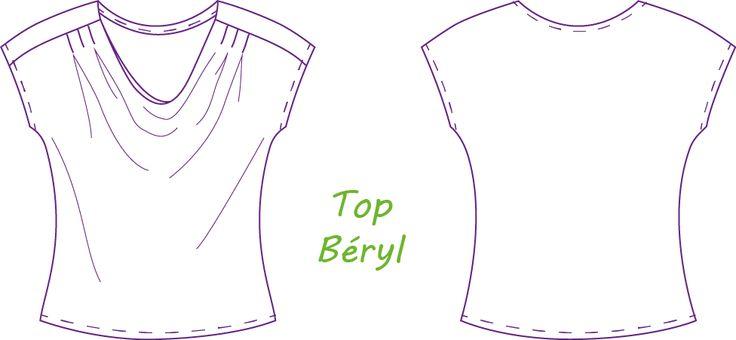 TOP BERYL Disponible de la taille 34 au 48. Toutes les tailles sont sur la même planche à patron. Les valeurs de coutre ne sont pas incluses....