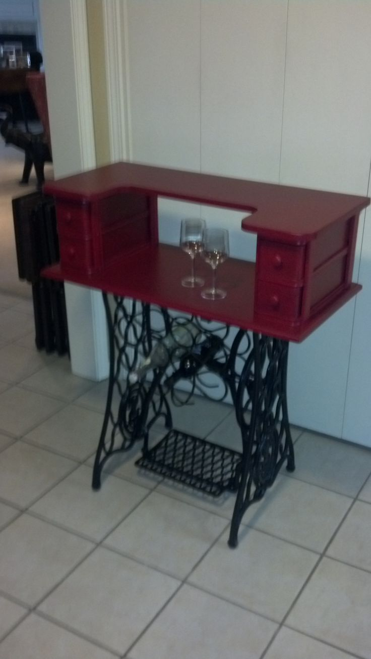 Apartment size bar from antique sewing machine