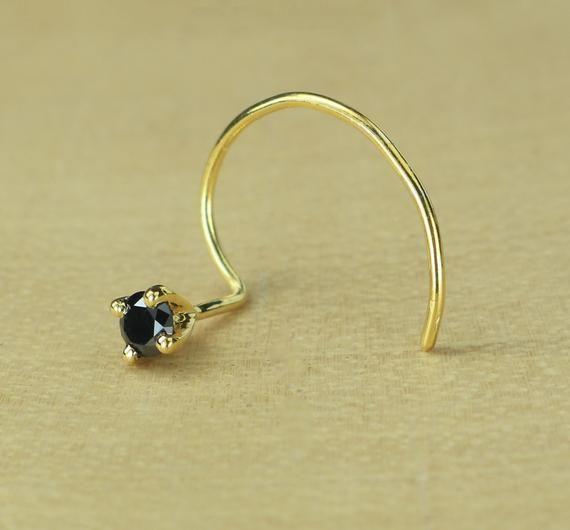 Moissanite Nose Pin Round Cut Natural Diamond Wire Type Nose Pin 14K Yellow Gold Nose Pin Anniversary Gift Birthday Gift Women/'s Gift