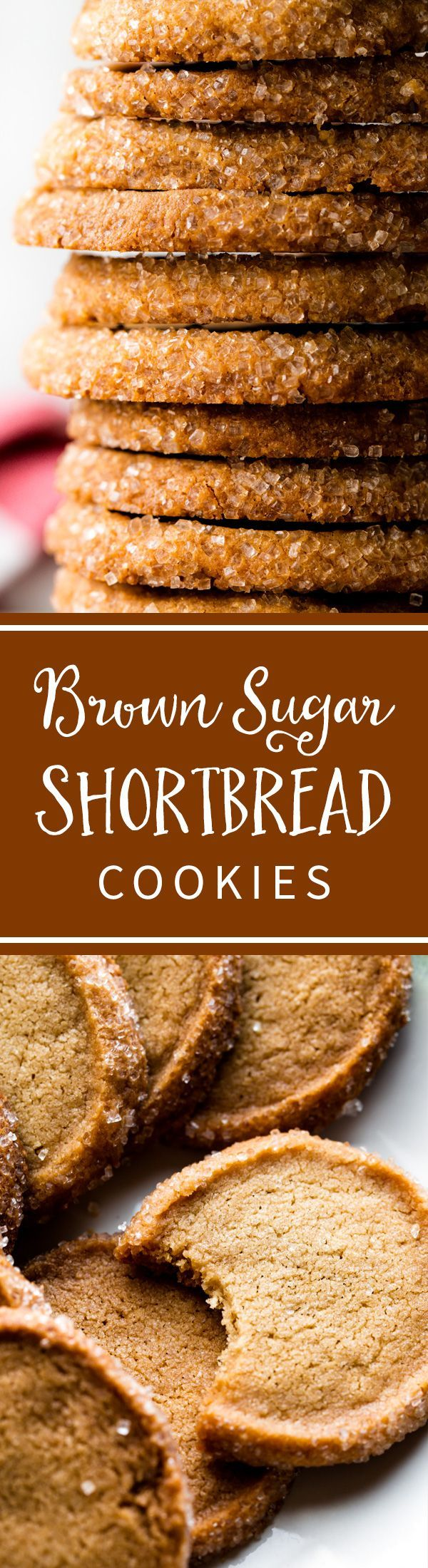Chewy, crisp, tender, and EASY brown sugar shortbread for your Christmas cookie platters! Recipe on sallysbakingaddiction.com