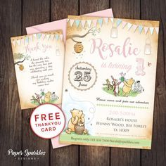 Winnie the Pooh Birthday invitation  FULLY CUSTOMISABLE, digital Birthday Invitation *Comes with FREE Thank you card for a limited time only*