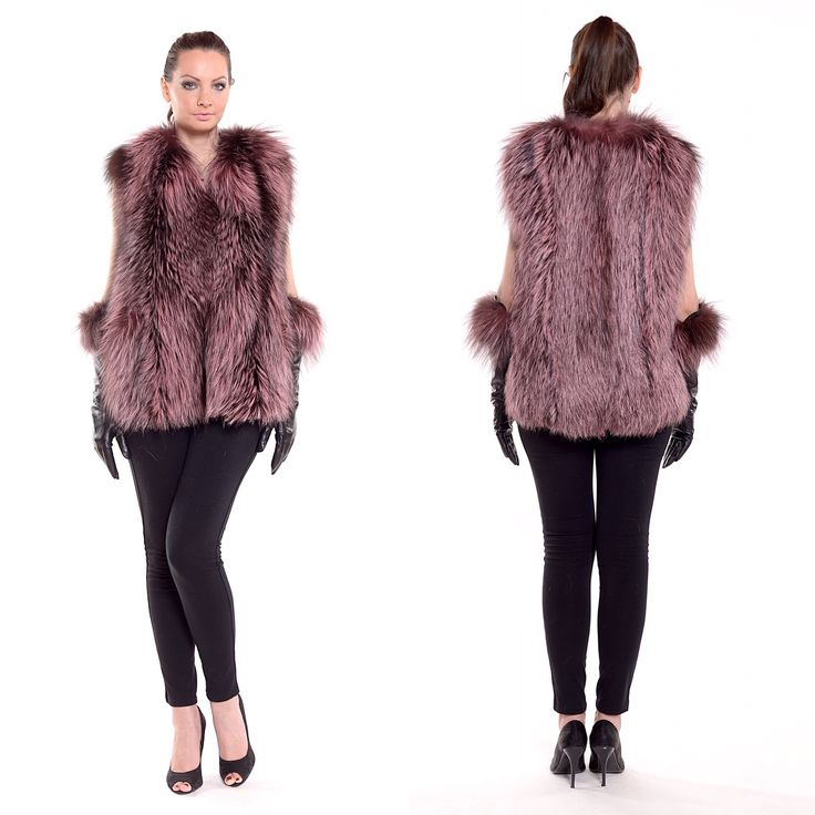 Stylish comfy purple fox fur vest with leather gloves.