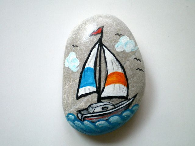 Sail Boat Hand Painted Rock by ShebboDesign, via Flickr