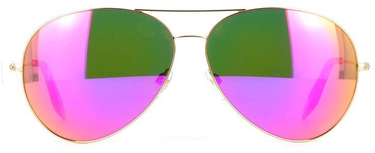 Top 5 mirrored sunglasses Victoria Beckham Classic Aviator Gold Fuchsia Mirror