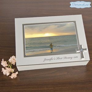 """Product # SM578 - Keep your treasures safe and sound in this attractive photo frame keepsake box. Adorned with a simple cross, this felt lined wood box is perfect for keeping special gifts, cards, and photos from a ceremony...or from your journey of faith. Lid holds a 4""""x6"""" photo. Personalization: 1 line, up to 32 characters. 7-1/2""""L x 5-1/2""""W x 1-3/4""""H.  $24.98"""