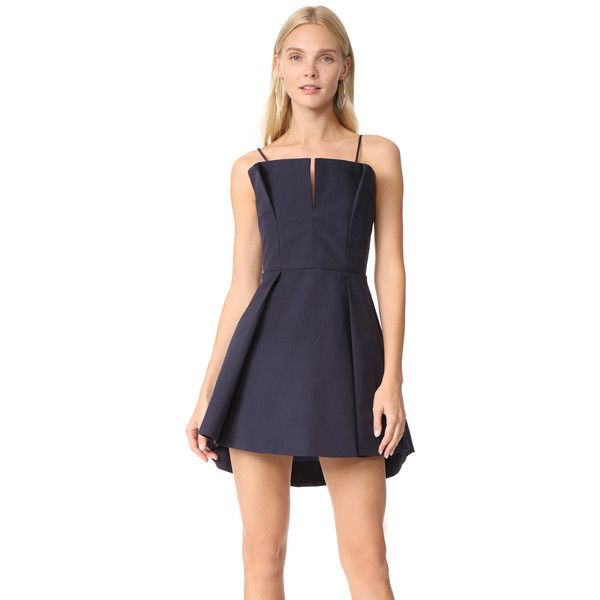 C/Meo Collective Conduit Mini Dress ($175) ❤ liked on Polyvore featuring dresses, navy, short flare dress, blue ruffle dress, navy blue slip, ruffle dress and navy blue short dress