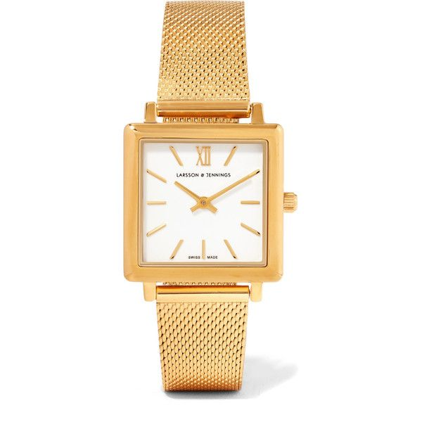 Larsson & Jennings Norse gold-plated watch ($320) ❤ liked on Polyvore featuring jewelry, watches, gold plated jewelry, roman numeral jewelry, square face watches, gold plated watches and roman numeral watches