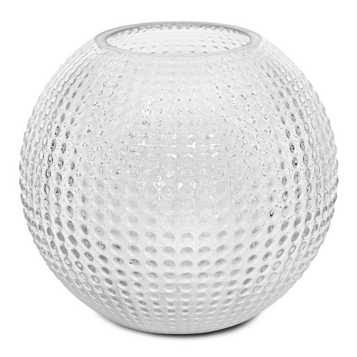 Rund vas i glas. Kan även användas som ljuslykta.