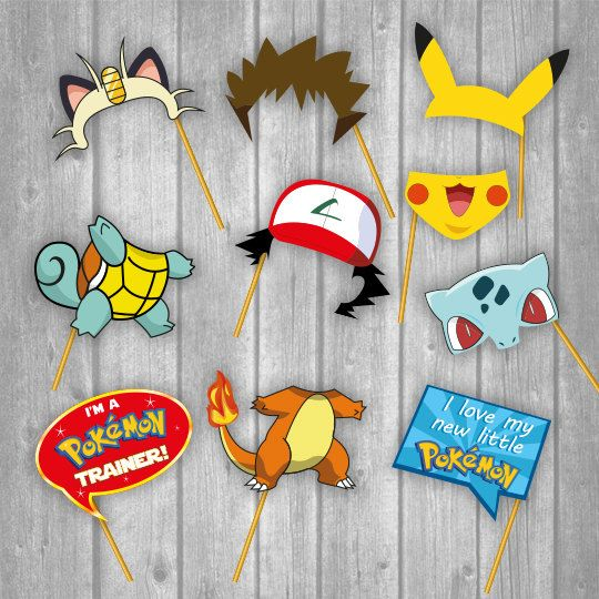 Printable Photo Booth Party Props - Pokemon  ☆25 Photo Booth Props Designs☆ ☆☆☆☆☆INSTANT DOWNLOAD ☆☆☆☆☆  25 images pack, this pack contains all the images & quotes that you see in the thumbnail menu.  These are an Excelent Party Props inspired in Pokemon:   What you are buying?:  ☆25 Photo Booth Props Designs☆  Print & Cut the images  DESCRIPTION -JPG files -PDF files -The 24 images are organized in 19 letter size sheets    24 photo booth images arranged in letter size (as you can see in the…