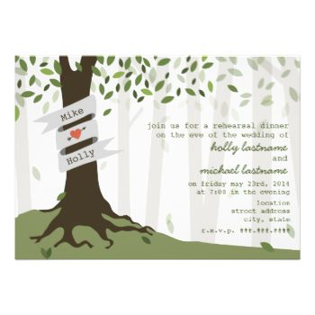 A wedding rehearsal dinner invitation featuring an illustration of a tree with roots on a hill of green grass. Tree has banner wrapped around it. Personalize with names.Row of trees in the background. Leaves are green. Personalize the text with details of your occasion. #wedding #forest #outdoor #wedding #outside #wedding #leaves #green #leaves #green #rehearsal #dinner #modern #rehearsal #dinner #rustic #rehearsal #dinner #trees #tree #tree #roots