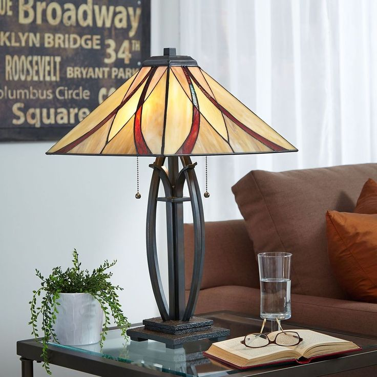 Table Lamp Multicoloured Glass Shade Vintage Bronze Base Bedroom Living Room