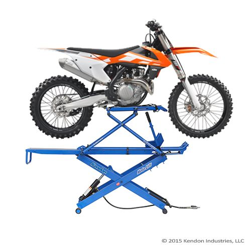 Folding Stand-Up™ Bike Lift for dirt bike and adventure bike applications  Weight: 120 lbs Capacity:  600 lbs Standing Height: 60 inches Width:  28 inches Depth: 17 inches Operation: Air / Hydraulic