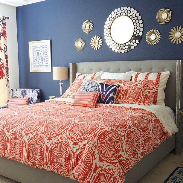 Orange print duvet and print pillows