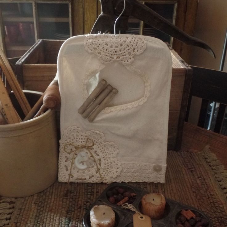 Vintage~Victorian Clothes Pin Holder~Hanger~Lace~Buttons~Bows~Pins~Twine | eBay