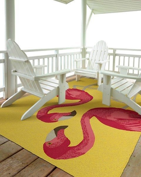 Pink Flamingos in Yellow Area Rug