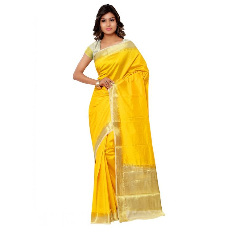Yellow Raw Silk Party Wear #Saree With Blouse- $40.69