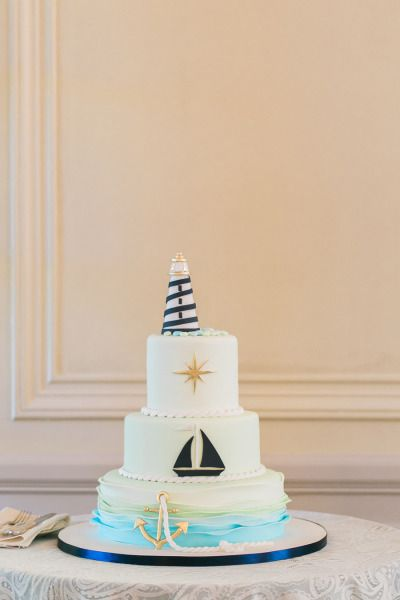 Nautical wedding cake: http://www.stylemepretty.com/rhode-island-weddings/2014/09/29/charming-nautical-rhode-island-wedding/ | Photography: Mirelle Carmichael - http://www.mirellecarmichael.com/