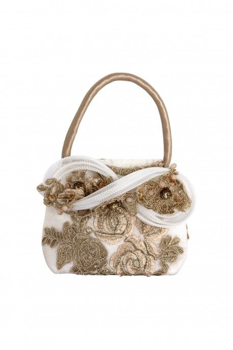 Handbag with gold embroidey and crine bow