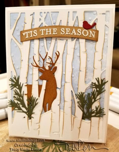 Card by Tracy Lewis (112716) [(dies) My Favorite Things Die-namics Snow Drifts, Sizzix Tim Holtz Alterations Birch Trees Thinlits; Holiday Greens Mini Thinlits (unattributed: bird and deer); (e/f) Taylored Expressions Snowfall]