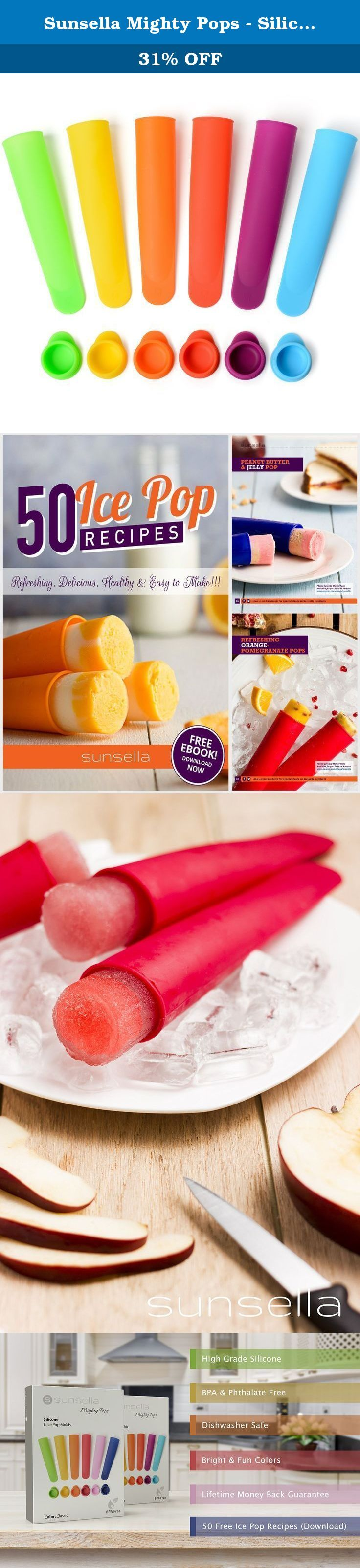 Sunsella Mighty Pops - Silicone Popsicle - Ice Pop Molds - 6 Pack. FREE 50 ICE POP RECIPES EBOOK (DIGITAL DOWNLOAD) Make Your Own Healthy & Tasty Ice Pops with our Easy to Use, No Mess, BPA Free, Silicone Popsicle Molds Our silicone ice pop makers are an easy, no fuss way to make the perfect ice pop. Mums will love the no mess design, simply remove the lid and the ice pop easily slides right out. No need to worry about them melting all over the place! Other benefits of Sunsella Mighty…
