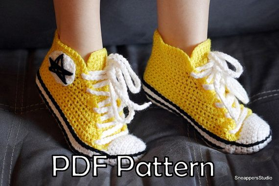 PDF PATTERN to create your own stylish pair of adult crochet converse!