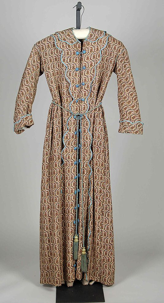 Printed paisley wool dressing gown with pale blue silk trim, American, 1875-1885.